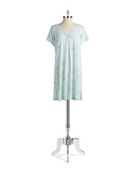Miss Elaine Floral Nightgown Aqua