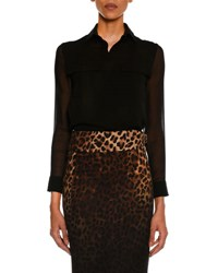 Tom Ford Silk Georgette Pocket Shirt Black