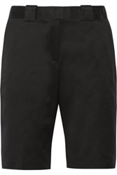 Victoria Beckham Denim Belted Cotton Shorts Black