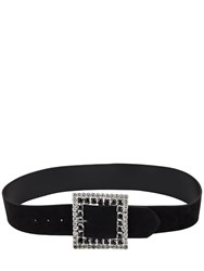 Alessandra Rich 50Mm Suede And Crystal Belt Black