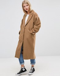 Asos Coat With Statement Sleeve In Pinstripe Brown