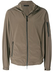 Paolo Pecora Zipped Hooded Jacket Brown