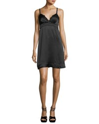 Ella Moss Bianka Sweetheart Neck Sleeveless Satin Mini Dress Black