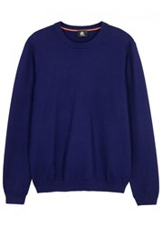 Paul Smith Ps By Blue Textured Knit Cotton Jumper Royal Blue