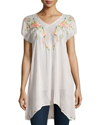 Johnny Was Short Sleeve Embroidered Long Tunic Women's