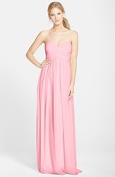 Women's Donna Morgan 'Laura' Ruched Sweetheart Silk Chiffon Gown Blush