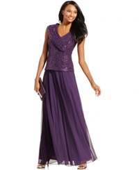 Patra Sequined Lace Formal Dress Plum