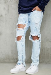 Forever 21 Slim Fit Acid Wash Jeans Light Denim