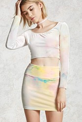 Forever 21 Tie Dye Mini Skirt Blue Pink