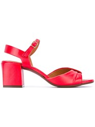 Chie Mihara Chunky Heel Sandals Women Leather Rubber 41 Red