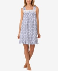 Eileen West Eyelet Trimmed Printed Cotton Knit Nightgown Blue Geo