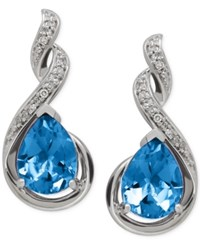 Macy's Blue Topaz 2 5 8 Ct. T.W. And Diamond Accent Infinity Earrings In Sterling Silver