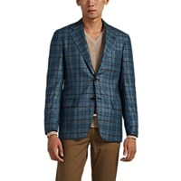 Kiton Kb Plaid Cashmere Blend Two Button Sportcoat Turquoise