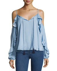 Marled By Reunited Clothing Ruffled Long Sleeve Cold Shoulder Chambray Top Light Blue