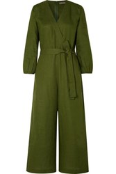 J.Crew Fontana Belted Wrap Effect Linen Jumpsuit Army Green