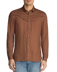 The Kooples Retro Floral Slim Fit Button Down Shirt Brown