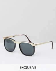 Reclaimed Vintage Inspired Round Sunglasses With Gold Brow Bar Black