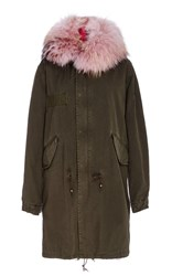 Mr And Mrs Italy Pastel Pink Fox Lined Dark Green Parka