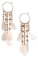 Serefina Cascading Crystal And Feather Hoop Earrings Blush