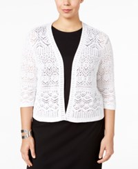Jm Collection Plus Size Crochet Shrug Only At Macy's Bright White