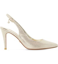 Dune Cathy Snake Embossed Slingback Courts Gold Reptile