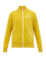 Palm Angels Logo Zip Through Cotton Blend Track Jacket Yellow