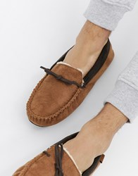 Totes Suedette Moccasin Slippers In Tan