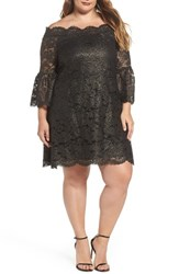 Elvi Plus Size Women's Off The Shoulder Black Gold Lace Dress
