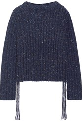 The Row Fenix Fringe Trimmed Ribbed Cashmere Sweater Midnight Blue