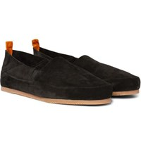 Mulo Collapsible Heel Suede Loafers Black