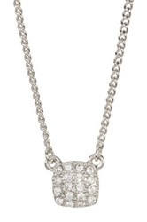 Givenchy Crystal Pave Square Pendant Necklace Metallic