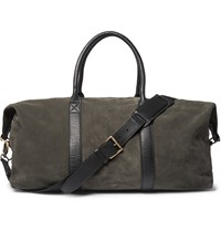 Ami Alexandre Mattiussi Leather Trimmed Suede Holdall Green