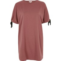 River Island Womens Dark Pink Tie Sleeve Oversized T Shirt