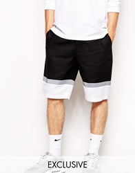 Reclaimed Vintage Shorts With Reflective Panel Blackwhite