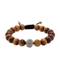 Lord And Taylor Round Tiger Eye Silver Bead Bracelet Stainless Steel