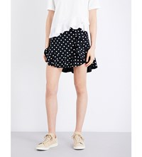 Sandro Polka Dot Twill Mini Skirt Black