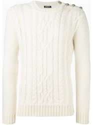 Balmain Cable Knit Jumper White