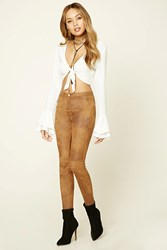 Forever 21 Distressed Faux Suede Pants Camel