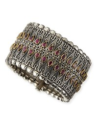 Sterling Silver Filigree Cuff With Pear Rhodolite Konstantino Red Pink