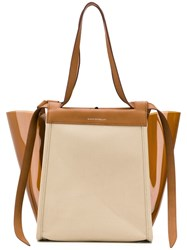 Elena Ghisellini Panelled Accordion Tote Brown