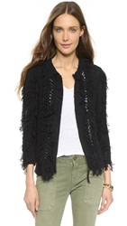 Twelfth St. By Cynthia Vincent Fringed Jacket Sweater Black