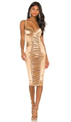 Nookie Tease Satin Midi Dress In Metallic Gold.