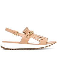 Loriblu Fringed Chain Strap Sandals Nude And Neutrals