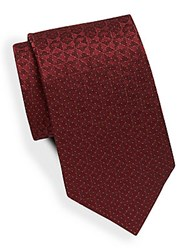 Saks Fifth Avenue Dotted Geometric Silk Tie Red