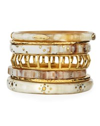 Ashley Pittman Almasi Light Horn Stacking Bangles Set Of 7 Brown