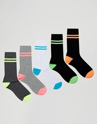 Asos Socks With Neon Stripes 5 Pack Black Multi