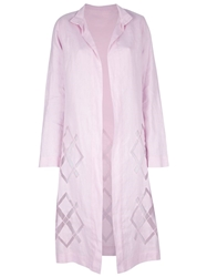 Laura Biagiotti Vintage Long Diamond Print Coat Pink And Purple