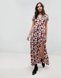 Wyldr Rose Printed Maxi Dress With Capped Sleeves And Deep V Neckline Multi