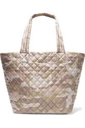 M Z Wallace Mz Metro Medium Leather Trimmed Quilted Camouflage Print Ripstop Tote Neutral