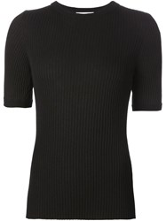 Beau Souci Ribbed Short Sleeve Sweater Black